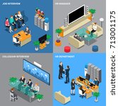 four squares recruitment hiring ... | Shutterstock .eps vector #713001175