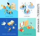 nursing home eldercare concept... | Shutterstock .eps vector #713001271