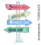 direction sing hand drawing... | Shutterstock .eps vector #713001619