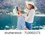 couple in love  enjoying the... | Shutterstock . vector #713002171