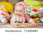baby girl with stacked of... | Shutterstock . vector #71300485