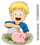 illustration of a kid boy... | Shutterstock .eps vector #713005459