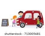 illustration of stickman kids...   Shutterstock .eps vector #713005681
