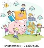 illustration of stickman kids... | Shutterstock .eps vector #713005687