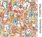 hand drawn seamless pattern... | Shutterstock .eps vector #713007964