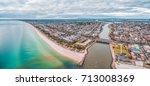 aerial panorama of luxury... | Shutterstock . vector #713008369