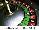 roulette wheel. roulette desk.... | Shutterstock . vector #713011801