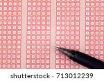pen and bingo lotto lottery... | Shutterstock . vector #713012239
