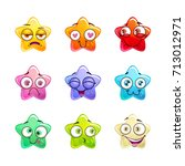 cartoon colorful glossy star...