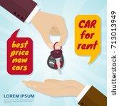 hand giving car key to buyer.... | Shutterstock .eps vector #713013949