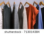 clothing hanging on a clothing...   Shutterstock . vector #713014384