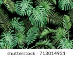 seamless pattern with tropical... | Shutterstock . vector #713014921