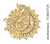 paisley ornamental motifs of... | Shutterstock .eps vector #713015725