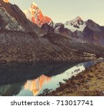 beautiful mountains landscapes... | Shutterstock . vector #713017741