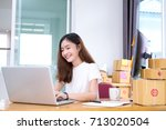 freelancer woman business... | Shutterstock . vector #713020504
