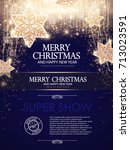 christmas flyer template with... | Shutterstock .eps vector #713023591