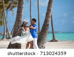 young couple in love have fun ... | Shutterstock . vector #713024359