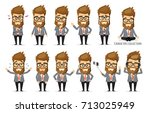 set of emotions for business... | Shutterstock .eps vector #713025949