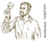 winemaker tasting wine. hand...   Shutterstock .eps vector #713027197