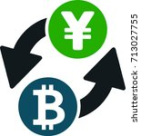 bitcoin to yen crypto currency... | Shutterstock .eps vector #713027755