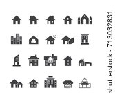 house and home icons set vector   Shutterstock .eps vector #713032831