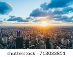 aerial view of shanghai skyline ... | Shutterstock . vector #713033851