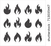 Fire Flames  Set Vector Icons