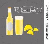 set of beer bottle  mug and... | Shutterstock .eps vector #713036674