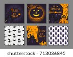 collection of 6 happy halloween ... | Shutterstock .eps vector #713036845