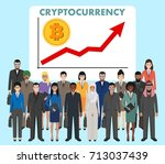 cryptocurrency concept. group... | Shutterstock .eps vector #713037439