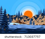 winter landscape with fir trees ... | Shutterstock .eps vector #713037757
