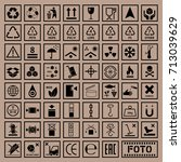 packaging symbols set  cargo... | Shutterstock .eps vector #713039629
