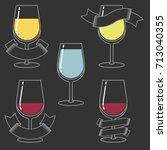 wine glass. vector linear...   Shutterstock .eps vector #713040355
