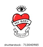 my baby forever. red heart and... | Shutterstock .eps vector #713040985