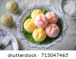 steamed cup cake or thai rice... | Shutterstock . vector #713047465