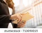 close up hand  people business... | Shutterstock . vector #713050015