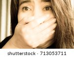 blurry portrait woman shock... | Shutterstock . vector #713053711
