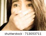 blurry portrait woman shock...   Shutterstock . vector #713053711