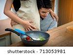 husband listening to baby in... | Shutterstock . vector #713053981