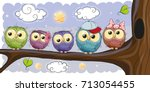 five cute owls is sitting on a... | Shutterstock .eps vector #713054455