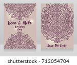 beautiful wedding cards with... | Shutterstock .eps vector #713054704