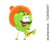 funny cartoon green pepper... | Shutterstock .eps vector #713056447