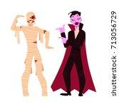 young man dressed in halloween...   Shutterstock .eps vector #713056729