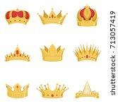 royal golden crowns set ... | Shutterstock .eps vector #713057419