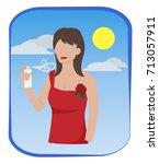 woman in semi formal dress are... | Shutterstock .eps vector #713057911