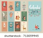 calendar 2018. cute monthly... | Shutterstock .eps vector #713059945