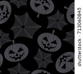 seamless halloween pattern with ... | Shutterstock .eps vector #713060845
