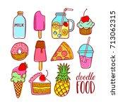 cute set of doodle food. hand... | Shutterstock .eps vector #713062315