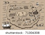 old parchment with pirate map.... | Shutterstock .eps vector #71306308