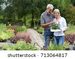 mature couple shopping for... | Shutterstock . vector #713064817
